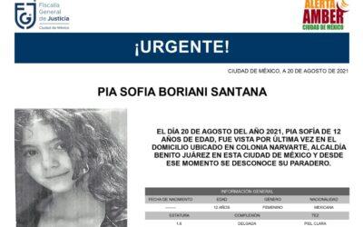 Alerta Amber por Pia Sofía; desapareció en la Narvarte