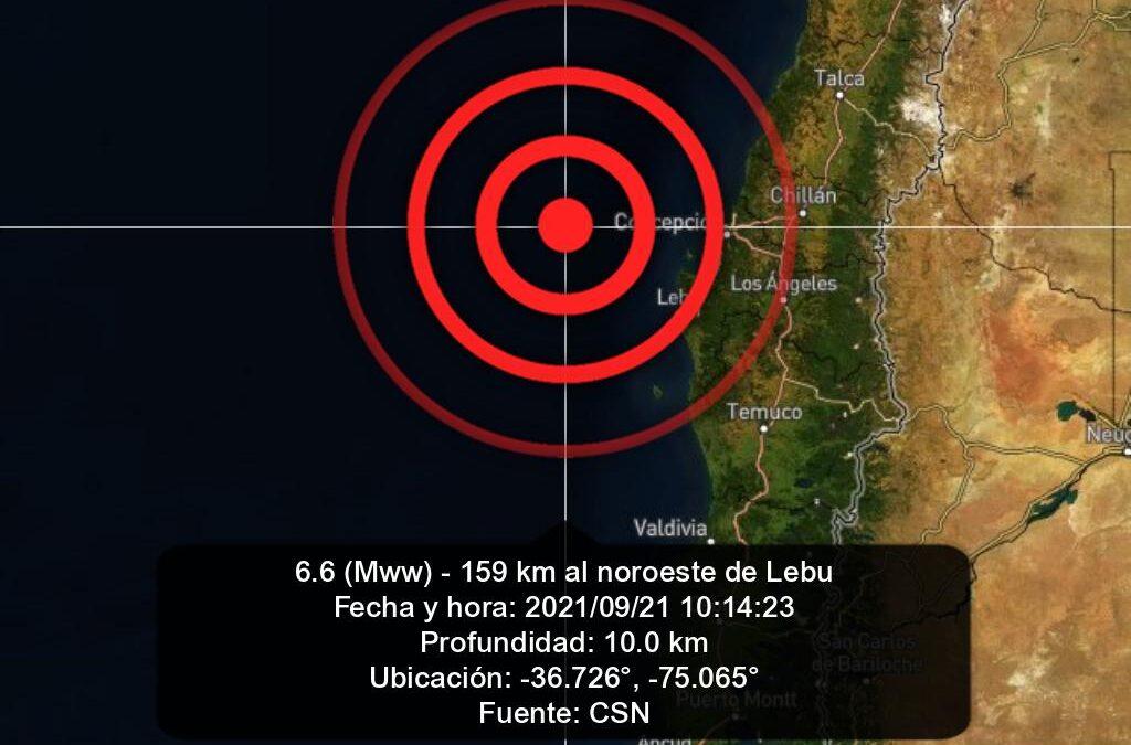 Sismo de 6.6 grados sacudió el sur y centro de Chile